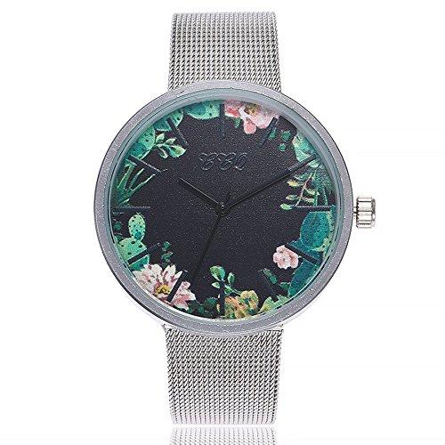 Damen Einfach Armbanduhr, Frauen Fashion Damenuhr Analog Quarz Uhr Elegant Ultra-flach Slim-Uhr Wrist Watch mit Mesh Edelstahl, LEEDY Förderung!