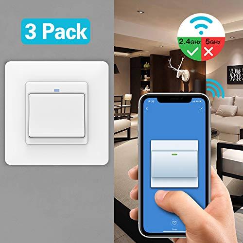 MoKo WiFi WLAN Smart Lichtschalter, 1 Gang Tastschalter Wandschalter Fernbedienung, APP- und Sprachsteuerung, Kompatibel mit Alexa Echo Google Home, IFTTT, ohne Hub Benötig -3Pcs
