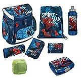 Familando Marvel Schulranzen-Set Spiderman 8tlg. Scooli Campus Up mit Federmappe gefüllt, Dose Flasche und Regenschutz