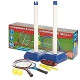 Kinder Draußen Garten Tennis Set Mit Netz Stand 2 Schläger Bälle Spielzeug Training