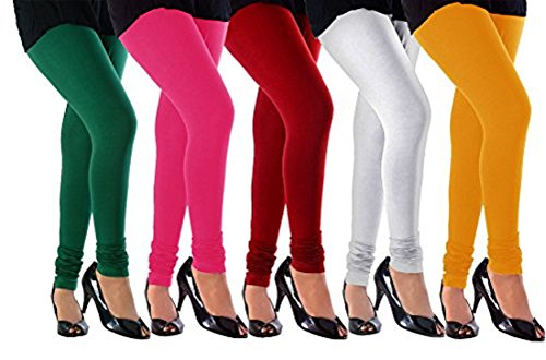 M.G.R.J Women\'s Cotton Lycra Churidar Leggings Combo (Pack of 5 White, Yellow, Red, Pink, Green) - Free Size