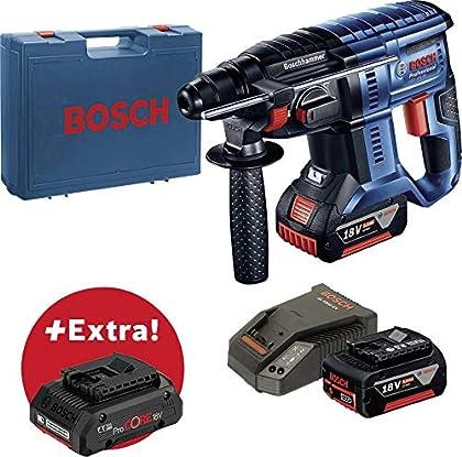 Bosch Professional GBH 18V-20 + ProCORE18V 4Ah SDS-Plus-Akku-Bohrhammer 18V 5Ah Li-Ion Incl. 3. batería Recargable