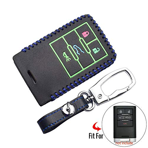 MATBC Leder Autoschlüssel Fall Remote Protector Keychain Zubehör, Für Cadillac ATS Xts 2013 2014, Für Corvette C6 C7 4 Tasten