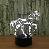SOMESUN 3D Illusion LED Veilleuses 7 Couleurs Changement Maison Chambre Créatif USB Veilleuses Noël Lampes de lumière de nuit Avec Câble Créatif Noël Cadeau (Cheval Clignotant)