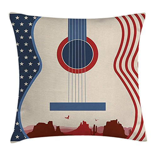 llow Cushion Cover, Country Music Festival Event Illustration Guitar with American Flag Design Print, Decorative Square Accent Pillow Case, 18 X18 Inches, Cream Red Blue ()