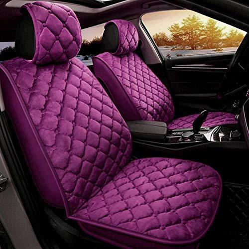FYLY-Moda Set Coprisedili per Auto, Universale Inverno Caldo Velluto Completamente Chiuso Cuscini di Seduta, Airbag Compatibile, per 5 Posti Anteriori e Posteriori,Vio