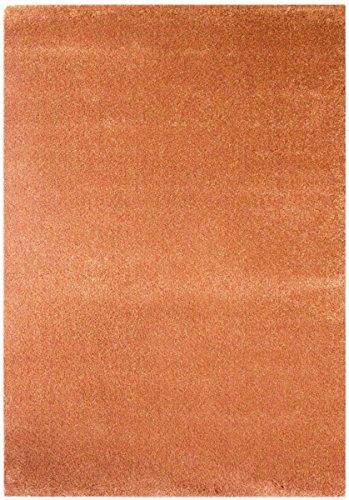 havatex Moderner Teppich Samoa Uni - Orange oder Rot | schadstoffgeprüft pflegeleicht schmutzabweisend | Wohnzimmer Schlafzimmer, Farbe:Kupfer, Größe:80 x 150 cm -