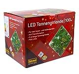 Idena 31814 - LED Tannengirlande mit 100 LED warm weiß, mit 8 Stunden Timer Funktion, für Advent, Weihnachten, Deko, als Stimmungslicht, ca. 25 cm x 5 m