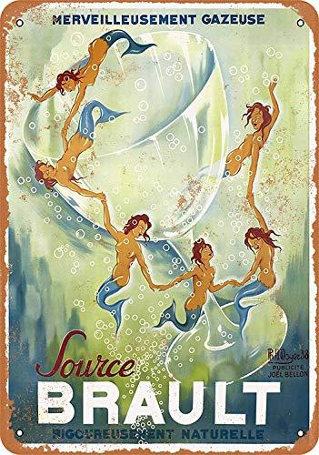 Sary buri 1938 Sparkling Water with Mermaids Metal Blechschild Plaque Wandkunst Geeignet für Garage Club Bar Dekoration