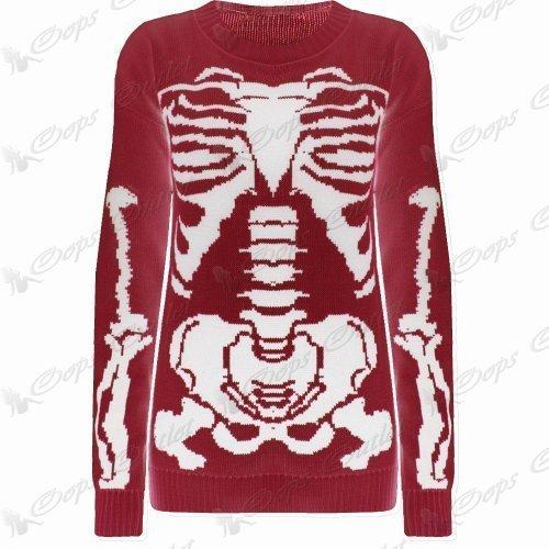 Damen Halloween Skelett Knochen Bedruckt Enganliegend Tunika Kleid Top 8 10 12 14 - Rot - Promi Jessie J Unheimlich Party Damen Unisex, 36
