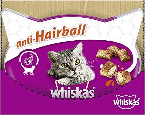 Whiskas Anti-Hairball - Köstliche Katzensnacks Anti-Hairball mit Huhn - Kalorienarme Leckerlis mit Huhn - Vorratspack mit 6 Packungen x 72g