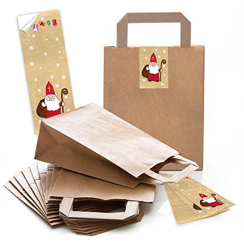 25 braune Papiertüten Geschenk-tüten Weihnachtstüten 18 x 8 x 22 cm kleine Papiertaschen + Weihnachts-Aufkleber HEILIGER NIKOLAUS SANTA rot natur Geschenktasche Weihnachten Verpackung