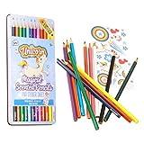 trendaffe Einhorn-Duft Buntstifte im 12er Set mit Stickerset - Einhorn Duft Schreibstift Bleistift