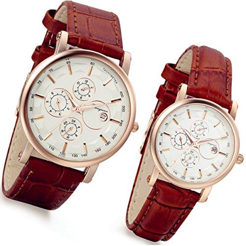 Lancardo 2pcs Herren Damen Freundschafts Armbanduhr, Casual Analog Quarz Kalender Design klassisch Uhr für Lieben Valentinstag Paar Paare Geschenk, Leder Armband, braun