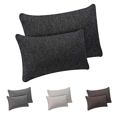 Selfitex 2er Set Sofakissen mit Füllung, Dekokissen mit Komfort-Polster-Bezug mit RV und Füllkissen, super flauschig und schön weich, Doppelpack 1xGröße 40x60 cm und 1xGröße 30x50 cm (anthrazit) - Großes Sofa-kissen