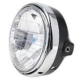 Benwei, Faro universale rotondo a LED per moto, con lente trasparente, 17,8cm, 35W, per Vespa 600,900,CB400/900, colore: nero