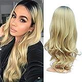 Golden Rule rubia Ombre raíces negras Onda del cuerpo suave pelo sintético peluca llena para mujeres mirada natural parte media peluca máquina hecha 22 pulgadas(55,9 cm)