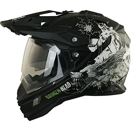 Enduro Helm mit Sonnenblende Broken Head Fullgas Viking matt schwarz - Cross Helm - MX Helm - Quad Helm (XL 61-62 cm)