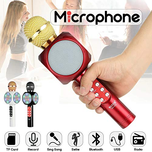 Microfono portatile wireless con bluetooth karaoke cassa integrata ws-1816
