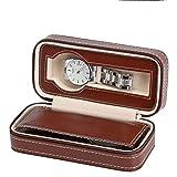 Yzyamz Uhrenbox Tragbarer Reißverschluss Uhrenbox 2 Braun/Schwarz Uhren-Display Aufbewahrungsbox Hochwertiger PU-Leder-Reißverschlussbeutel (Color : Brown)