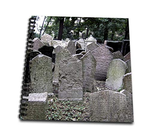3dRose grau Headstones in Friedhof in Prague-Grey Graveyard Grave Stones-Creepy gruselige Gothic Halloween-Mini 4 von 4-Zoll (DB 155665 _ 3), 4 x 4 Notizblock (Zeichnungen Halloween Für Gruselige)