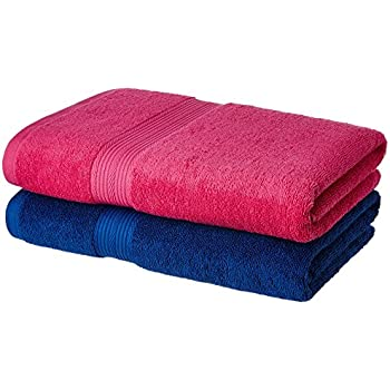Amazon Brand - Solimo 100% Cotton 2 Piece Bath Towel Set, 500 GSM (Iris Blue and Paradise Pink)
