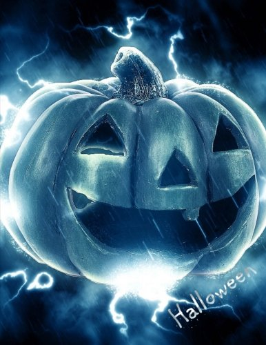 Halloween: Blue Flaming Jack-o'-Lantern Cover Design Notebook/Journal with 110 Lined Pages (8.5 x (Für Halloween Ideen College)