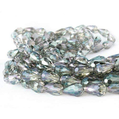 Fil De 48+ Clair Cristal Bohème 10x15mm AB Goutte Facetté Perles GC12546 (Charming Beads)