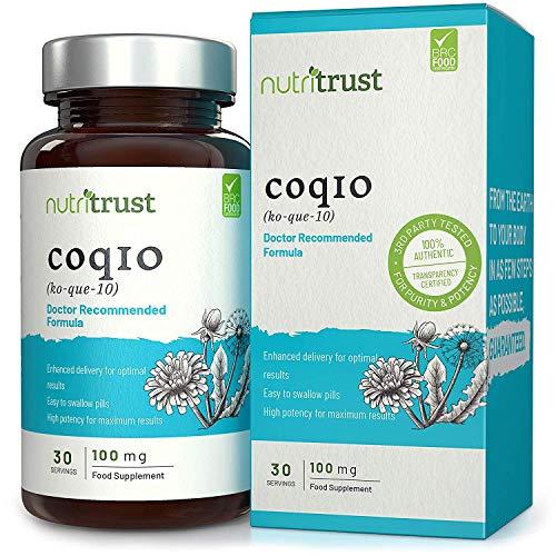 Coenzym Q10 Kapseln von Nutritrust® – CoQ10 100mg – einfach zu schlucken – hochdosiert & verbesserte Wirkung für maximale Wirksamkeit – GMP zertifiziert – natürliche Antioxidantien.