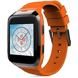 MyKronoz KRZESPLASH2-ORANGE-BLACK - Reloj inteligente IP66(llamadas, SMS, podómetro, control del sueño, frecuencia cardíaca, para iOS/Android), color Negro/Naranja