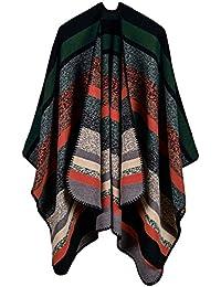 5857ea48ded0 Étole Femme Vintage Classical Rayures Le Châle Poncho Fashion Désinvolte  Vêtements Elégante Automne Hiver Chaud Cachemire Cape Chale…