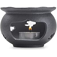 TAMUME Calentador de Tetera de Hierro Fundido Negro, Adecuado para Todo Tipo de Tetera (Flor)