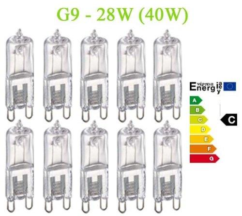 10 x dimmable halogen bulbs 28 watts energy saver G9 TGG9-28W