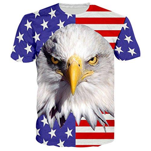 RAISEVERN Camisetas Graciosas Hombre Manga Corta Camiseta Chulas T Shirt Eagle 3D Tshirt XXL