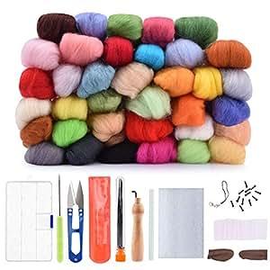 BASEIN Lana Feltro, 36 Colori Kit di Feltro per Roving di Lana per Lavori Manuali di Filatura a Mano (2018 Aggiornata Versione)