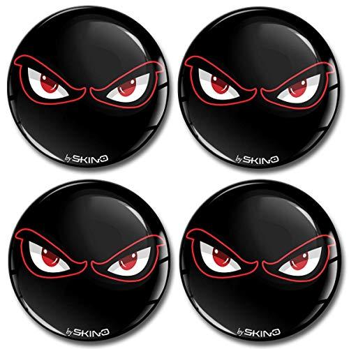 Skino 4 x 60mm Adesivi Resinati 3D Gel Stickers Auto Coprimozzi Logo Silicone Autoadesivo Stemma Adesivo Copricerchi Tappi Ruote No Fear Eyes A 4060