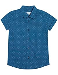 Blue Zoo Bluezoo Kids Boys' Dark Turquoise Geometric Print Short Sleeved Shirt Age 9