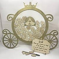 Disney themed Princess Cinderella pumpkin carriage Gold Wedding drop box guest book birthday guestbook wooden