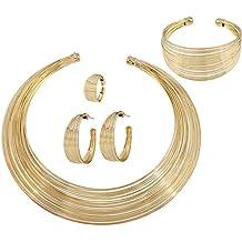 JUNGEN Muchachas Moda Pendientes anillo de la pulsera de metel rayas 5Pcs (Dorado)
