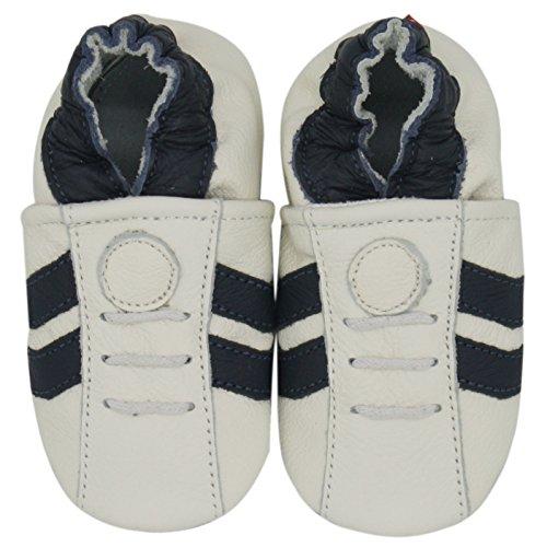 Carozoo Le Sport Frange Bleu Blanc(Sport Dark Blue Stripe White), Chaussures Bébé Semelle Souple Fille