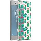 Funda Sony Xperia XA1, Eouine Cárcasa Ultra Slim Silicona 3d Transparente con Dibujos Impresión Patrón Suave TPU Bumper Case Cover Fundas para Movil Sony Xperia XA1 - 5 Pulgada (Cactus)