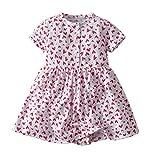 Tyoby Mädchen Blumenmuster Kleid Prinzessin Rock Baby Erfrischend Strandrock,Sommer Wunderbares kinderkleidung(Rosa,12M)