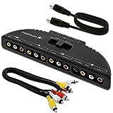 Splitter box Fosmon Technology, scatola audio/video con 3 ingressi audio/video RCA con interruttore e cavo connettore audio/video per collegare 3dispositivi di uscita RCA alla tua TV