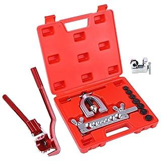 FIXKIT 12tlg. Bördelgerät für Bremsleitung mit Rohrbiegezange, Bohrausräumer und Rohrschneider,Biegegerät Bördelwerkzeug für Bremsen Rohrbördelwerkzeug 4.75-5-6-7-10 mm