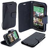 Etui bicolore Fancy Diary Book de Moozy avec support silicone & dragonne pour HTC Desire 610 Noir