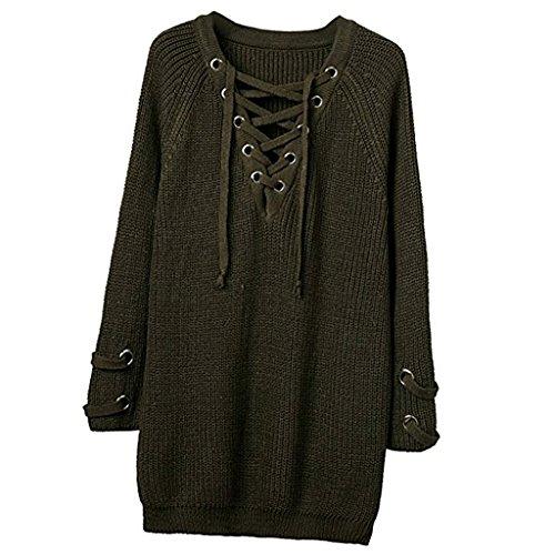 Prettyia Donna Moda Maglione Maglia Top Camicie Cappotto Giacca Abbigliamento da Inverno Autunno Oliva