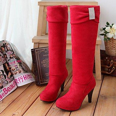 Bottes pour femmes automne hiver robe en simili cuir Confort Boucle Talon Rouge Brun Noir Gris marcher Ruby