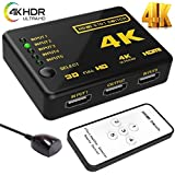 Microware HDMI Switch Splitter 5 In 1 Out Ultra HD 4K X 2K Intelligent 5 Port HDMI Switcher With Remote Control IR Receiver And USB Power Cable Supports 3D 4K Full HD 1080p