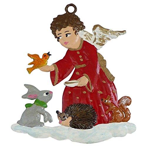 Engel beim Tiere füttern von Hand bemalt aus Zinn, Christbaumschmuck, weihnachtlicher Zierschmuck
