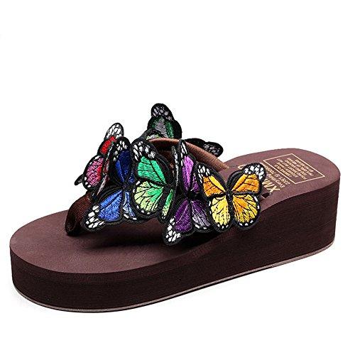 Estate Sandali Pattini handmade femmina di estate Pattini freddi della farfalla Pattini casuali della spiaggia di Anti-skid (formato, colore opzionale) Colore / formato facoltativo #5